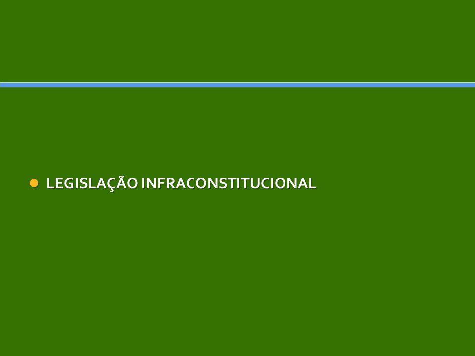 LEGISLAÇÃO INFRACONSTITUCIONAL LEGISLAÇÃO INFRACONSTITUCIONAL
