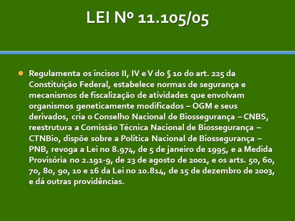 LEI Nº 11.105/05 Regulamenta os incisos II, IV e V do § 1o do art. 225 da Constituição Federal, estabelece normas de segurança e mecanismos de fiscali