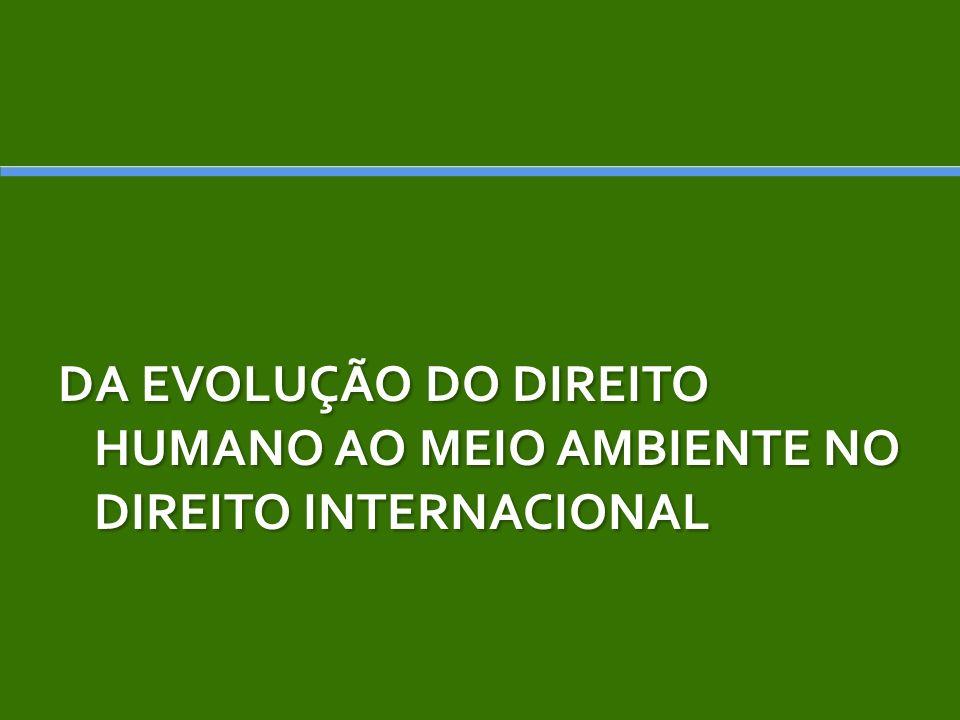 Resolução 2398 /68 a Assembléia Geral da ONU destacou os efeitos da degradação da qualidade do meio ambiente humano na condição humana e no gozo dos direitos humanos básicos.