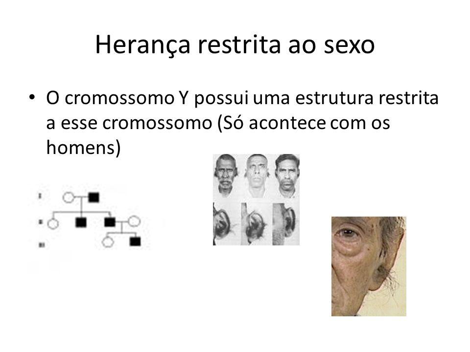 Herança restrita ao sexo O cromossomo Y possui uma estrutura restrita a esse cromossomo (Só acontece com os homens)