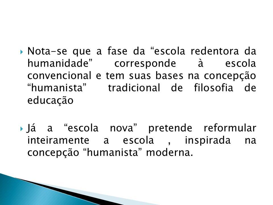 Nota-se que a fase da escola redentora da humanidade corresponde à escola convencional e tem suas bases na concepção humanista tradicional de filosofi
