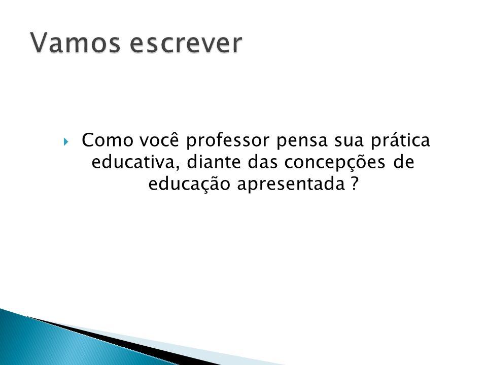 Como você professor pensa sua prática educativa, diante das concepções de educação apresentada ?