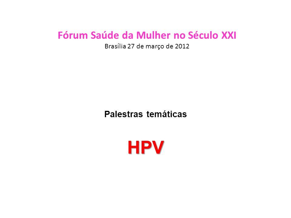 Incidência Mundial Estimada do HPV Câncer cervical : 0.493 milhões em 2002 1 Lesões pré-cancerosas de Alto Grau (risco): 10 milhões 2 Lesões cervicais de Baixo Grau (risco): 30 milhões Verrugas genitais: 30 milhões 3 Atribuída a tipos Alto Risco de HPV Infecção pelo HPV sem anormalidades detectáveis: 300 milhões 2 1.