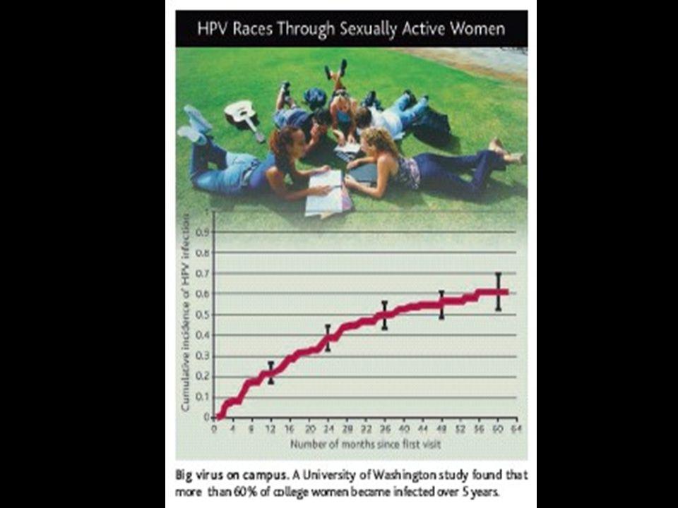 - Probabilidade de transmissão de HPV por ato sexual 5 – 100%; mediana de 40% - Homem Mulher é de 60% para HPV 16 - HIV e HSV 2 em casais discordantes