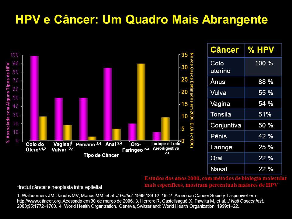 Incidência Mundial Estimada do HPV Câncer cervical : 0.493 milhões em 2002 1 Lesões pré-cancerosas de Alto Grau (risco): 10 milhões 2 Lesões cervicais