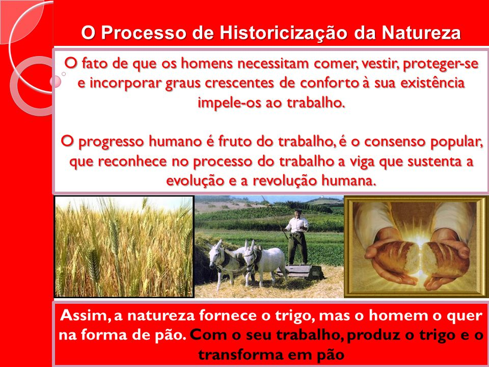 O Processo de Historicização da Natureza O fato de que os homens necessitam comer, vestir, proteger-se e incorporar graus crescentes de conforto à sua