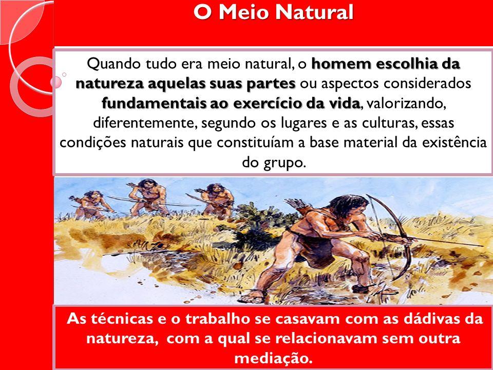 O Meio Natural homem escolhia da natureza aquelas suas partes fundamentais ao exercício da vida Quando tudo era meio natural, o homem escolhia da natu