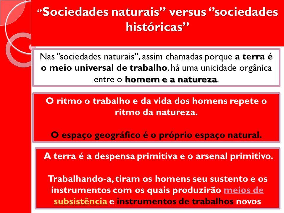 Sociedades naturais versus sociedades históricas Sociedades naturais versus sociedades históricas homem e a natureza Nas sociedades naturais, assim ch