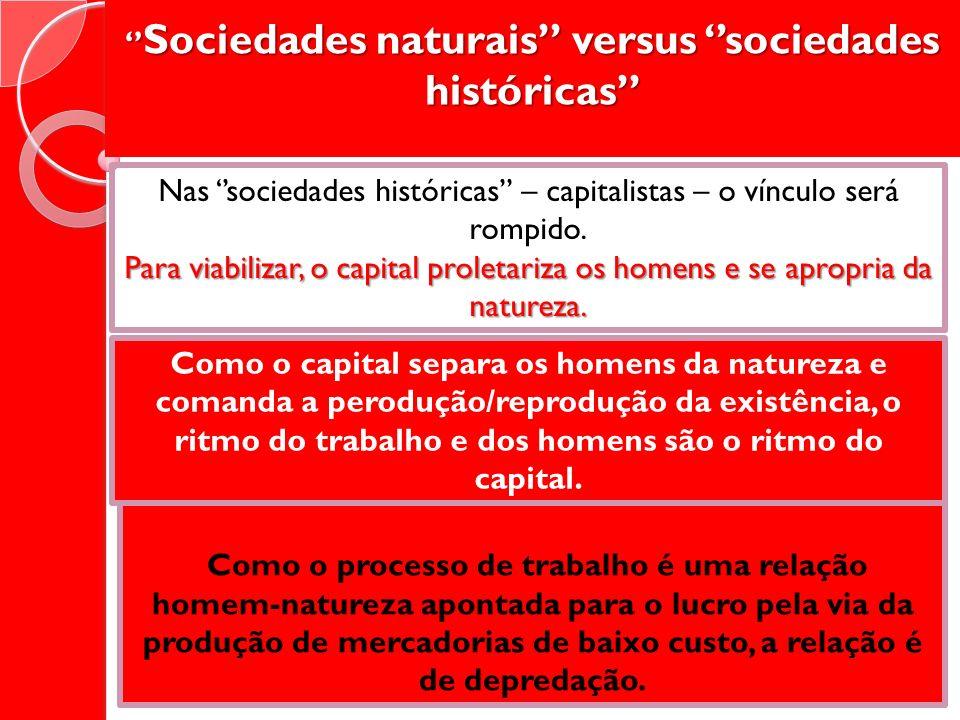 Sociedades naturais versus sociedades históricas Sociedades naturais versus sociedades históricas Nas sociedades históricas – capitalistas – o vínculo