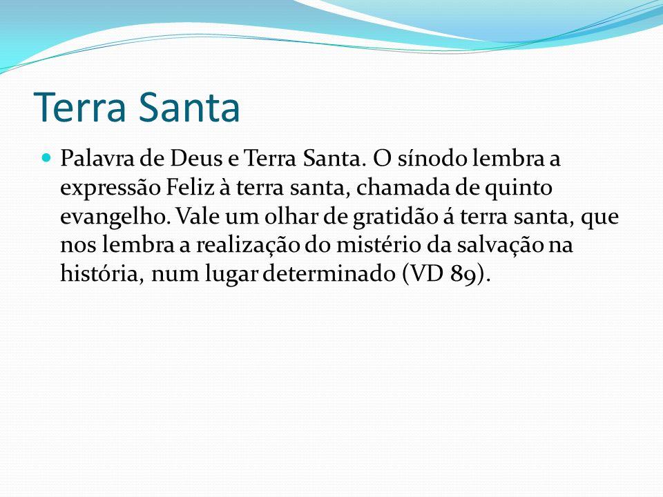 Terra Santa Palavra de Deus e Terra Santa. O sínodo lembra a expressão Feliz à terra santa, chamada de quinto evangelho. Vale um olhar de gratidão á t