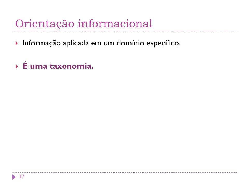 Orientação informacional Informação aplicada em um domínio específico. É uma taxonomia. 17