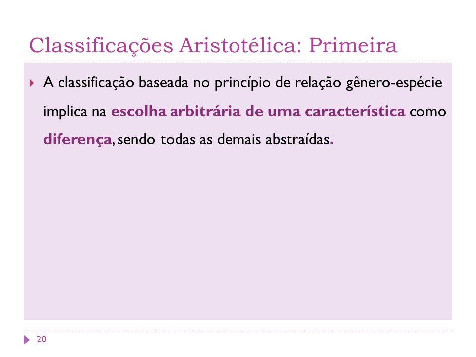 Classificações Aristotélica: Primeira A classificação baseada no princípio de relação gênero-espécie implica na escolha arbitrária de uma característi