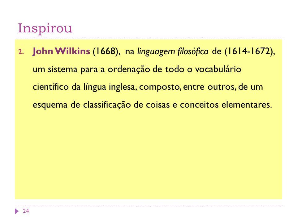 Inspirou 2. John Wilkins (1668), na linguagem filosófica de (1614-1672), um sistema para a ordenação de todo o vocabulário científico da língua ingles