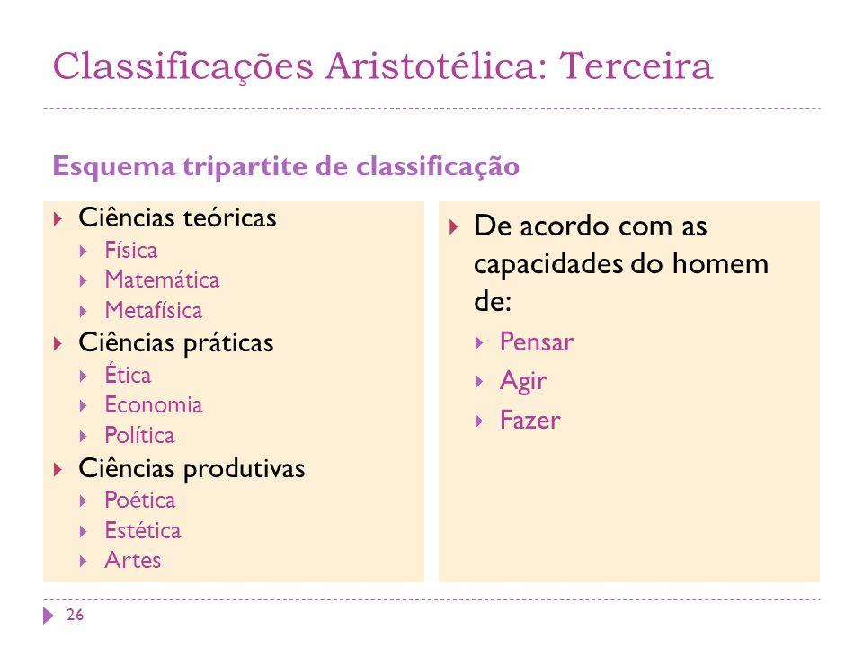 Classificações Aristotélica: Terceira Esquema tripartite de classificação Ciências teóricas Física Matemática Metafísica Ciências práticas Ética Econo