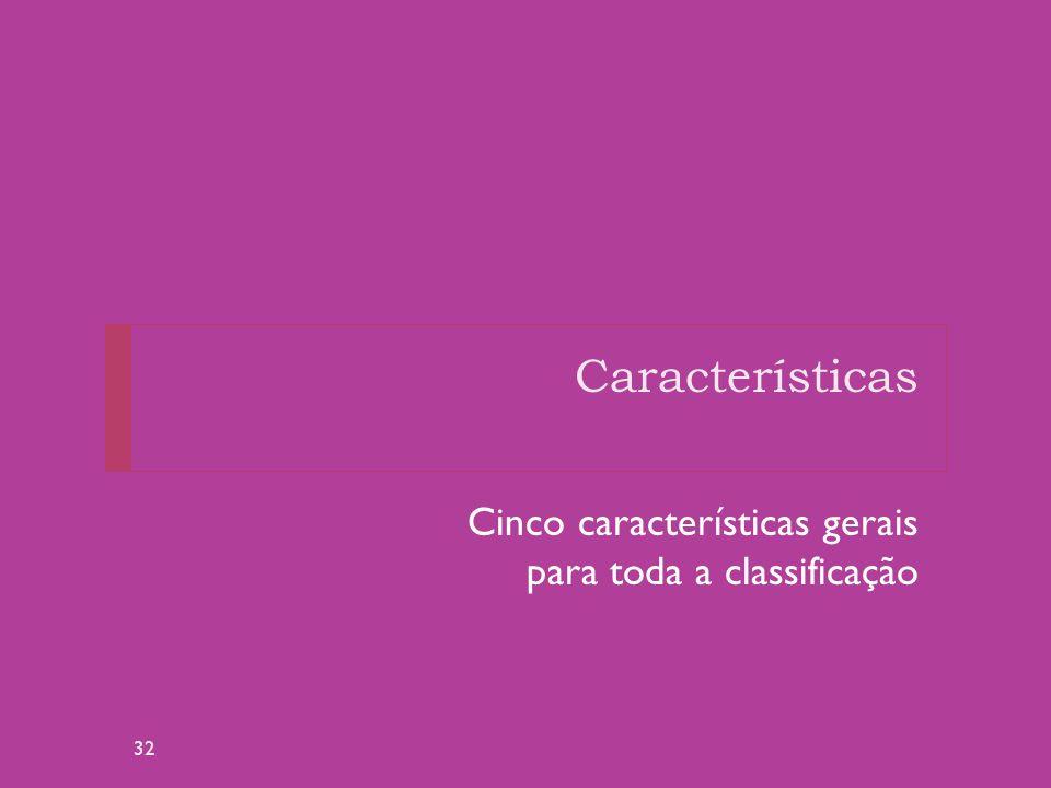 Características Cinco características gerais para toda a classificação 32