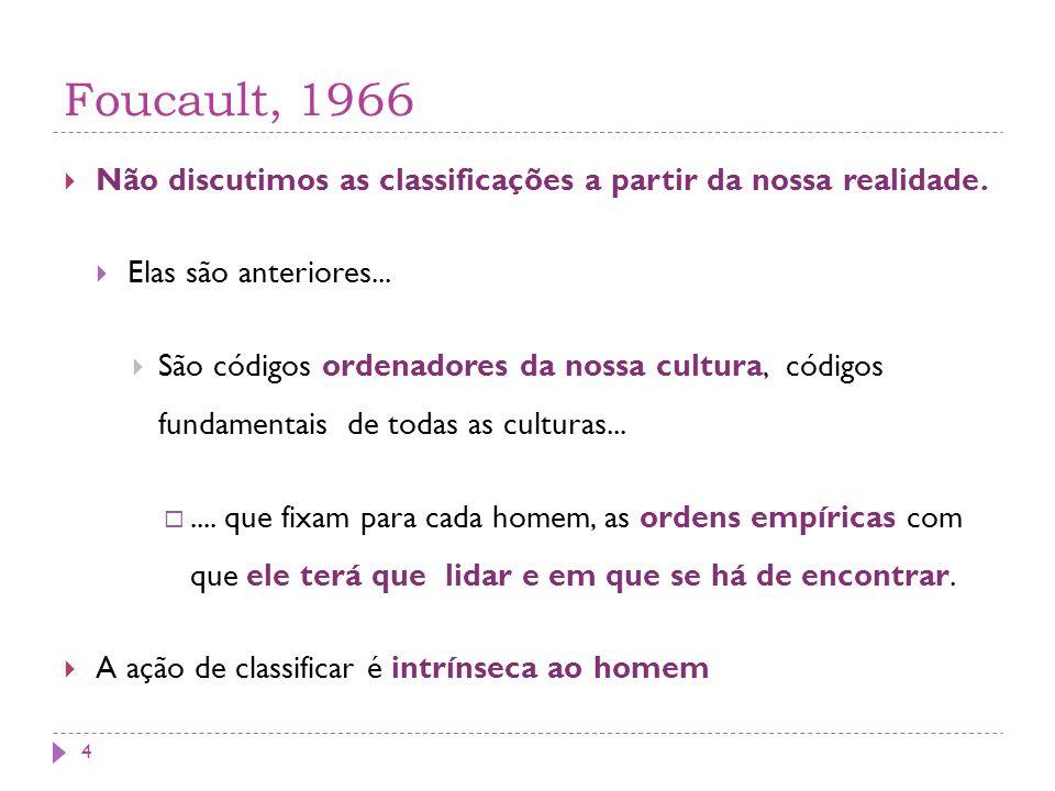 Foucault, 1966 Não discutimos as classificações a partir da nossa realidade. Elas são anteriores... São códigos ordenadores da nossa cultura, códigos