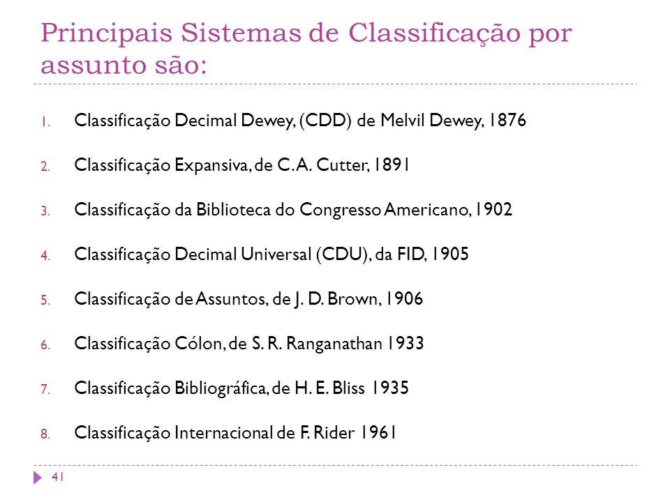 Principais Sistemas de Classificação por assunto são: 1. Classificação Decimal Dewey, (CDD) de Melvil Dewey, 1876 2. Classificação Expansiva, de C. A.