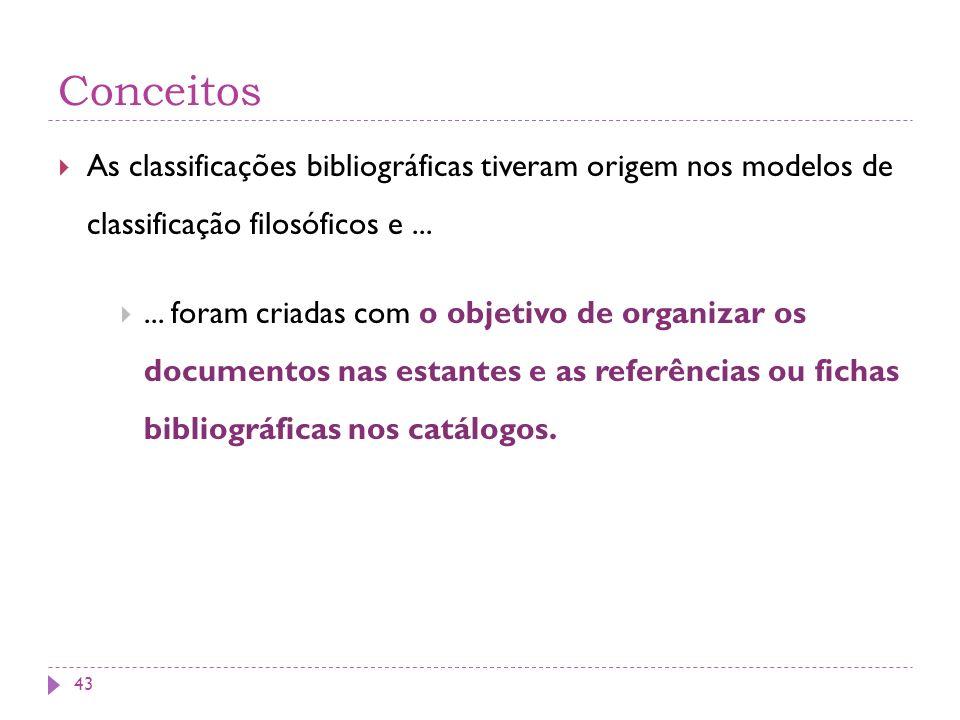 Conceitos As classificações bibliográficas tiveram origem nos modelos de classificação filosóficos e...... foram criadas com o objetivo de organizar o