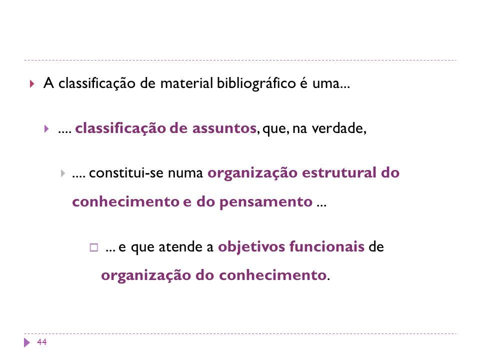 A classificação de material bibliográfico é uma....... classificação de assuntos, que, na verdade,.... constitui-se numa organização estrutural do con