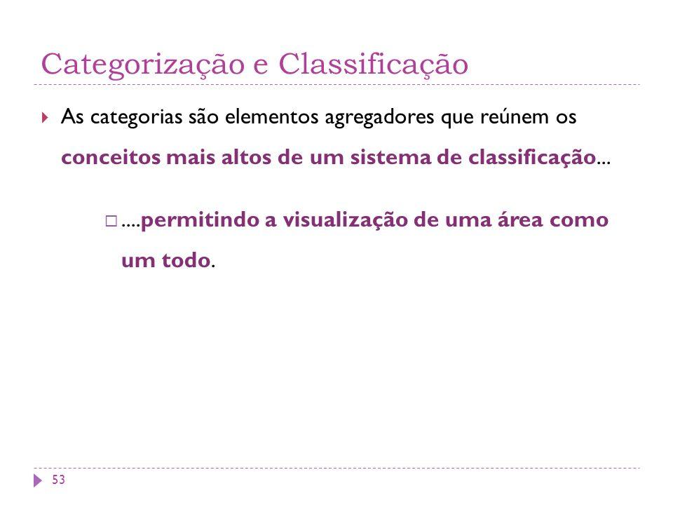 Categorização e Classificação As categorias são elementos agregadores que reúnem os conceitos mais altos de um sistema de classificação.......permitindo a visualização de uma área como um todo.