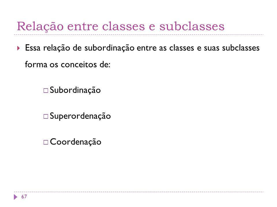 Relação entre classes e subclasses Essa relação de subordinação entre as classes e suas subclasses forma os conceitos de: Subordinação Superordenação