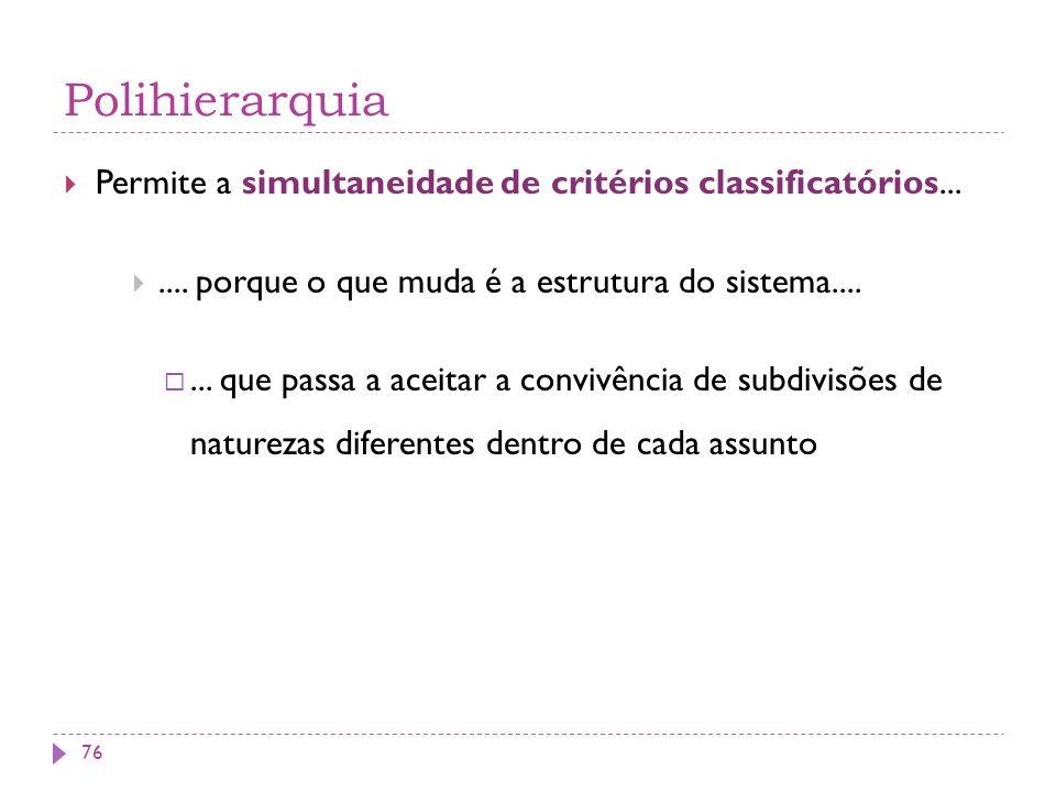 Polihierarquia Permite a simultaneidade de critérios classificatórios.......