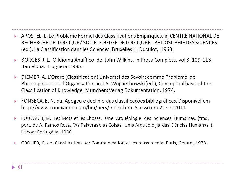 APOSTEL, L. Le Problème Formel des Classifications Empiriques, in CENTRE NATIONAL DE RECHERCHE DE LOGIQUE / SOCIÉTÉ BELGE DE LOGIQUE ET PHILOSOPHIE DE