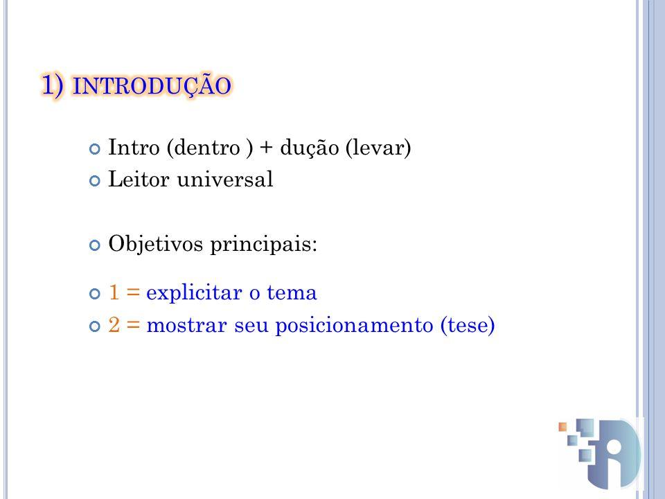 Intro (dentro ) + dução (levar) Leitor universal Objetivos principais: 1 = explicitar o tema 2 = mostrar seu posicionamento (tese)