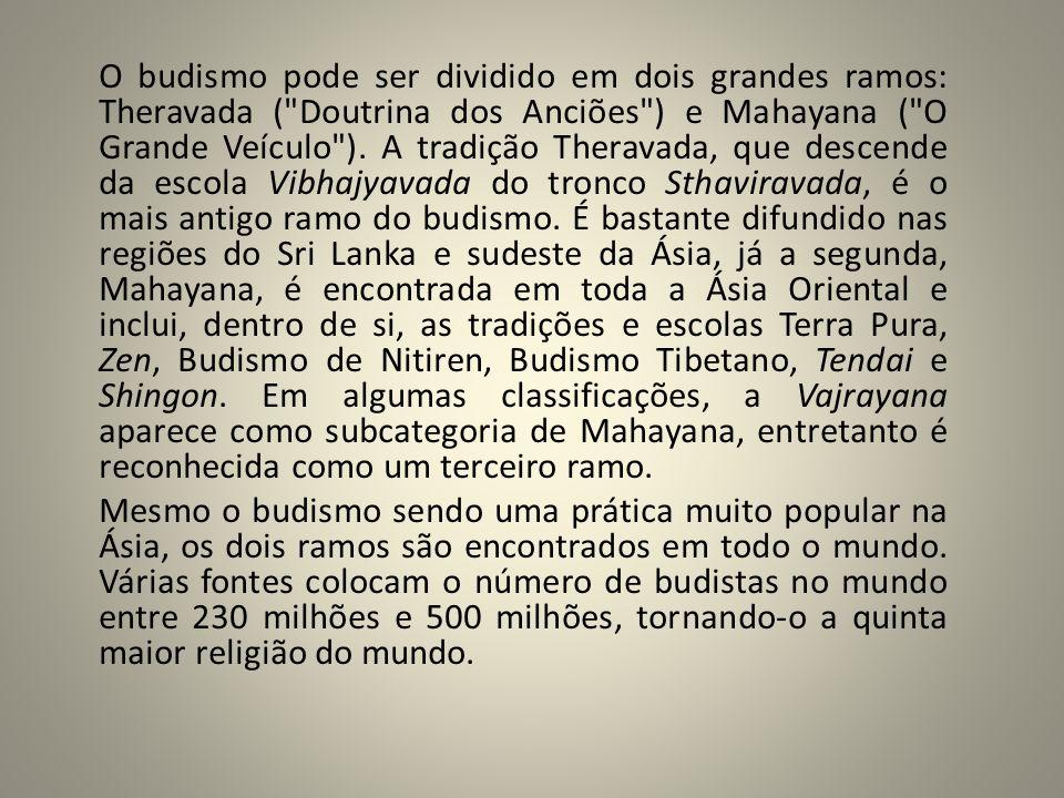 O budismo pode ser dividido em dois grandes ramos: Theravada (
