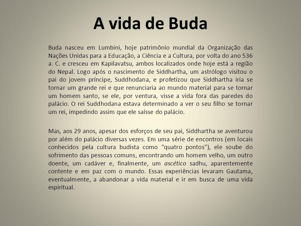 A vida de Buda Buda nasceu em Lumbini, hoje patrimônio mundial da Organização das Nações Unidas para a Educação, a Ciência e a Cultura, por volta do a