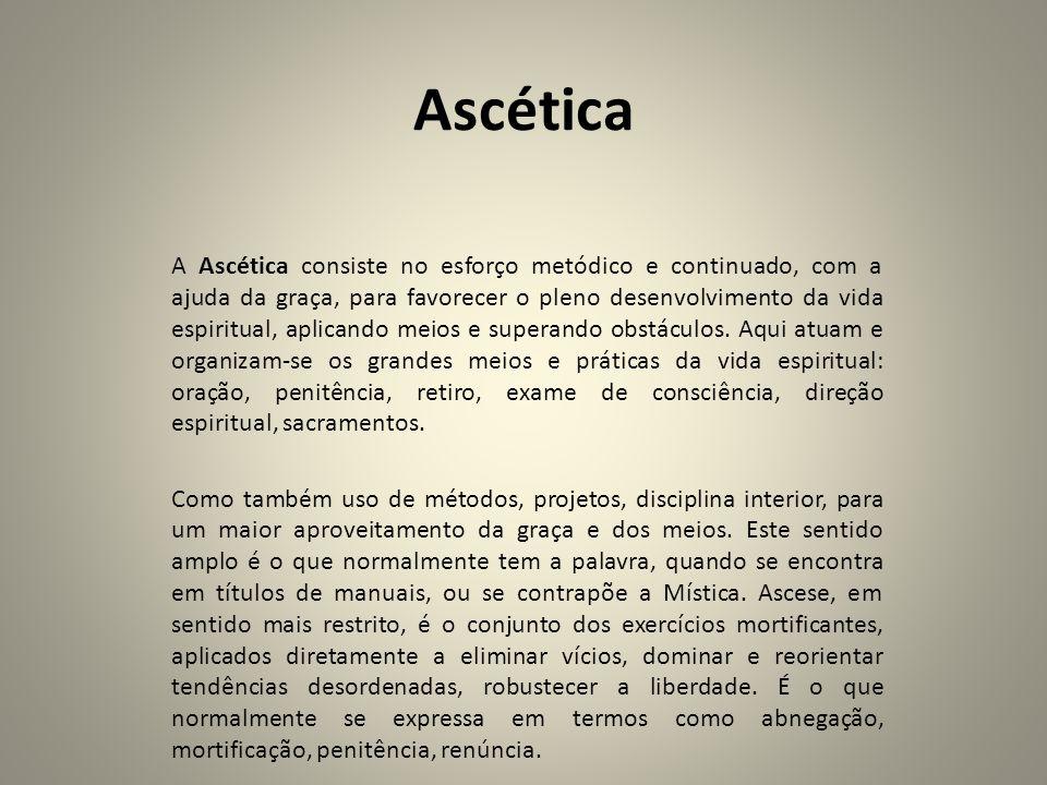 Ascética A Ascética consiste no esforço metódico e continuado, com a ajuda da graça, para favorecer o pleno desenvolvimento da vida espiritual, aplica