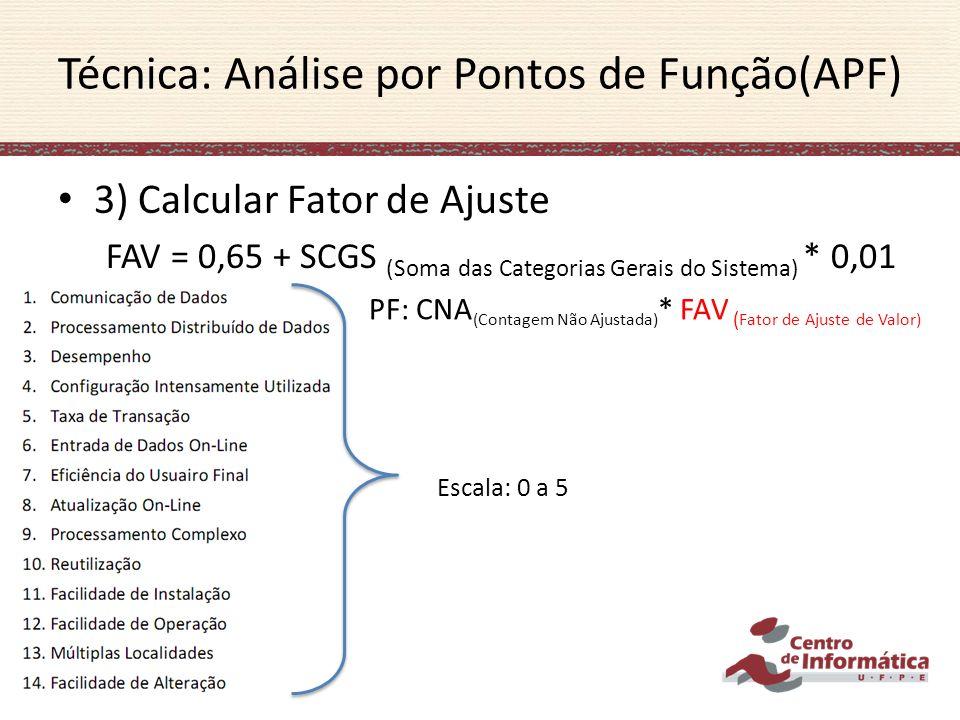 3) Calcular Fator de Ajuste FAV = 0,65 + SCGS (Soma das Categorias Gerais do Sistema) * 0,01 Técnica: Análise por Pontos de Função(APF) Escala: 0 a 5