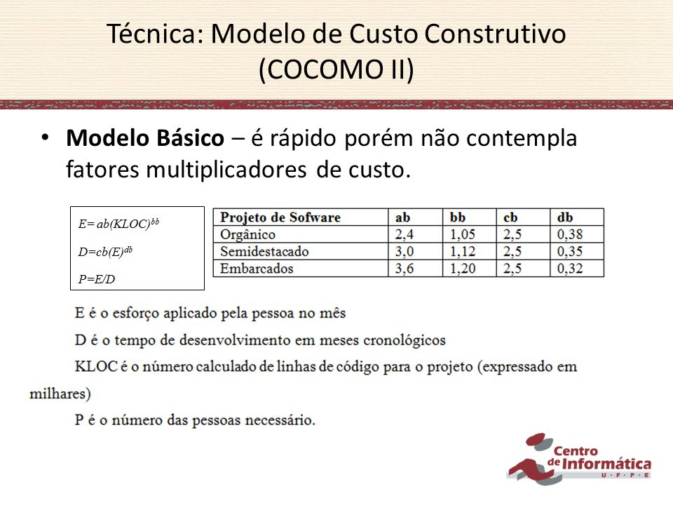 Modelo Básico – é rápido porém não contempla fatores multiplicadores de custo.