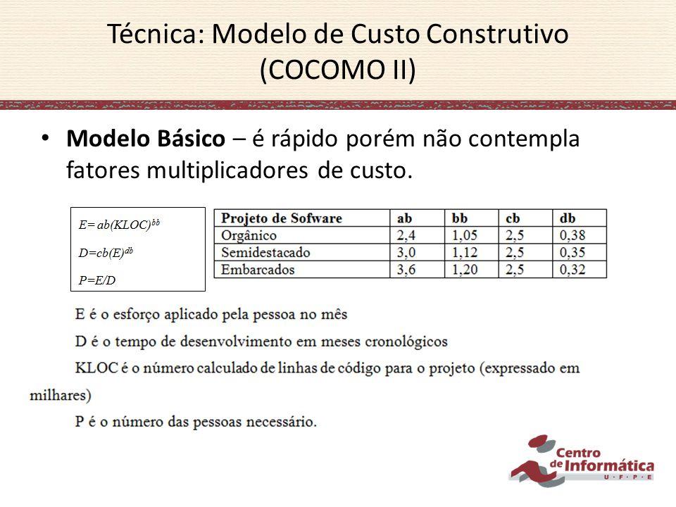 Modelo Básico – é rápido porém não contempla fatores multiplicadores de custo. Técnica: Modelo de Custo Construtivo (COCOMO II)