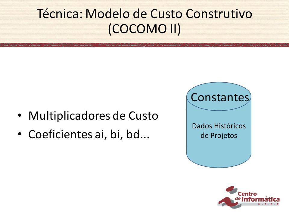 Multiplicadores de Custo Coeficientes ai, bi, bd... Técnica: Modelo de Custo Construtivo (COCOMO II) Constantes