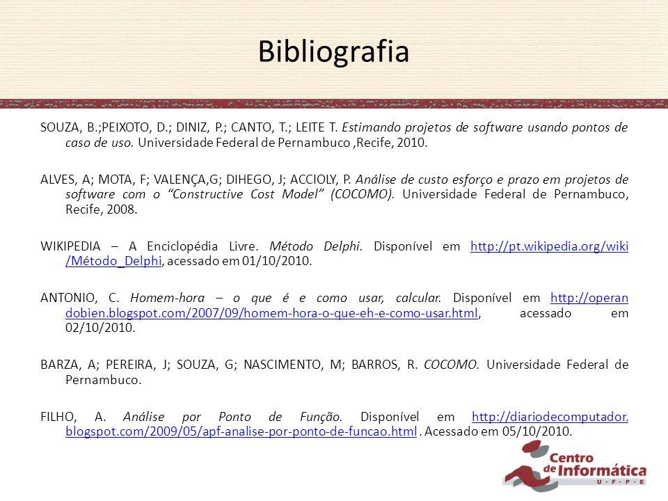 SOUZA, B.;PEIXOTO, D.; DINIZ, P.; CANTO, T.; LEITE T. Estimando projetos de software usando pontos de caso de uso. Universidade Federal de Pernambuco,