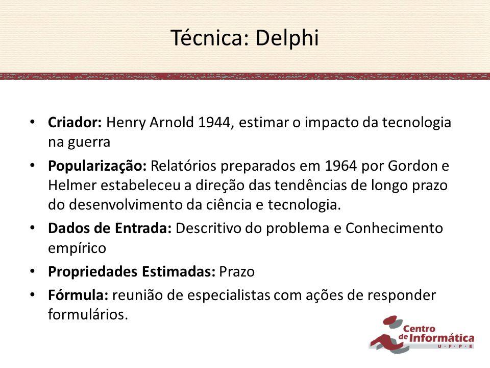 Criador: Henry Arnold 1944, estimar o impacto da tecnologia na guerra Popularização: Relatórios preparados em 1964 por Gordon e Helmer estabeleceu a d