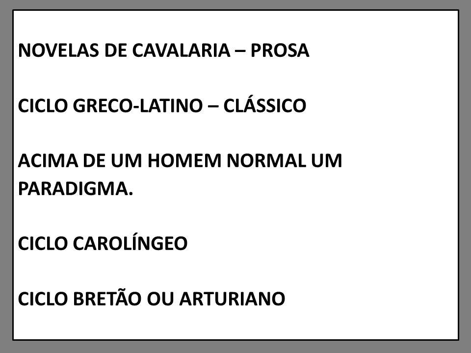 NOVELAS DE CAVALARIA – PROSA CICLO GRECO-LATINO – CLÁSSICO ACIMA DE UM HOMEM NORMAL UM PARADIGMA.