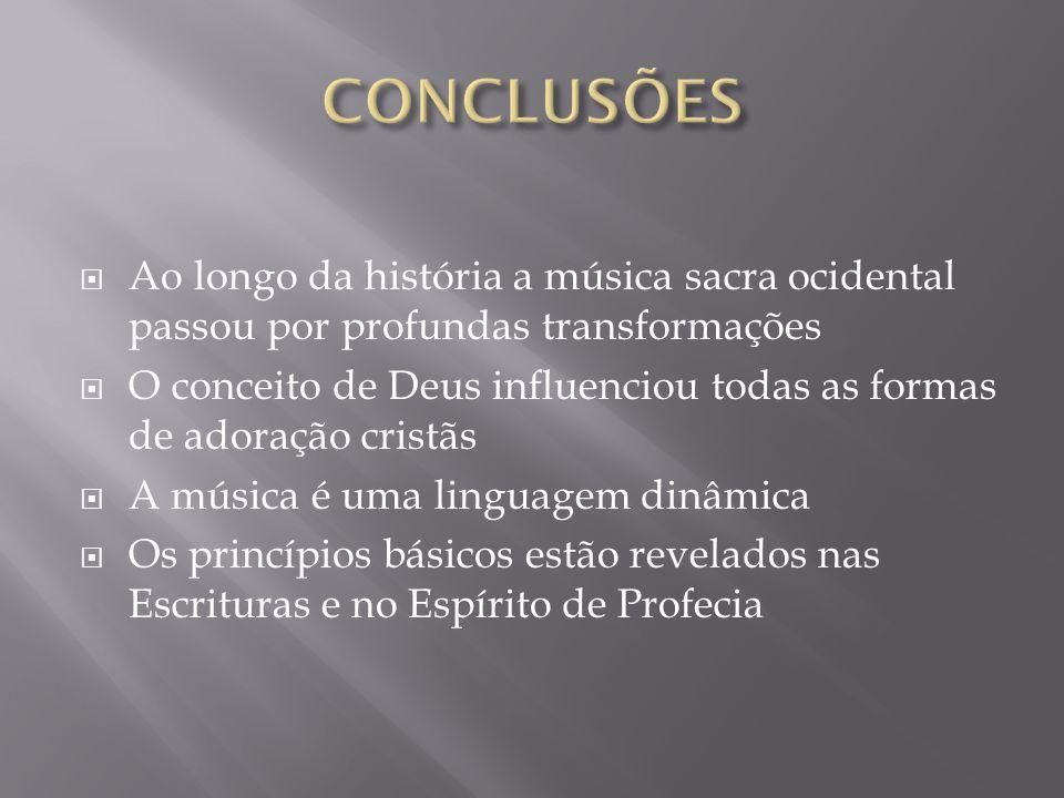Ao longo da história a música sacra ocidental passou por profundas transformações O conceito de Deus influenciou todas as formas de adoração cristãs A