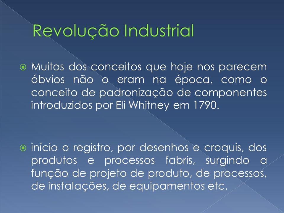 Muitos dos conceitos que hoje nos parecem óbvios não o eram na época, como o conceito de padronização de componentes introduzidos por Eli Whitney em 1