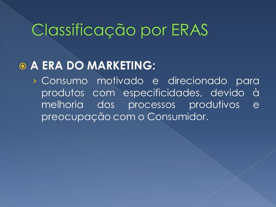 A ERA DO MARKETING: Consumo motivado e direcionado para produtos com especificidades, devido à melhoria dos processos produtivos e preocupação com o C