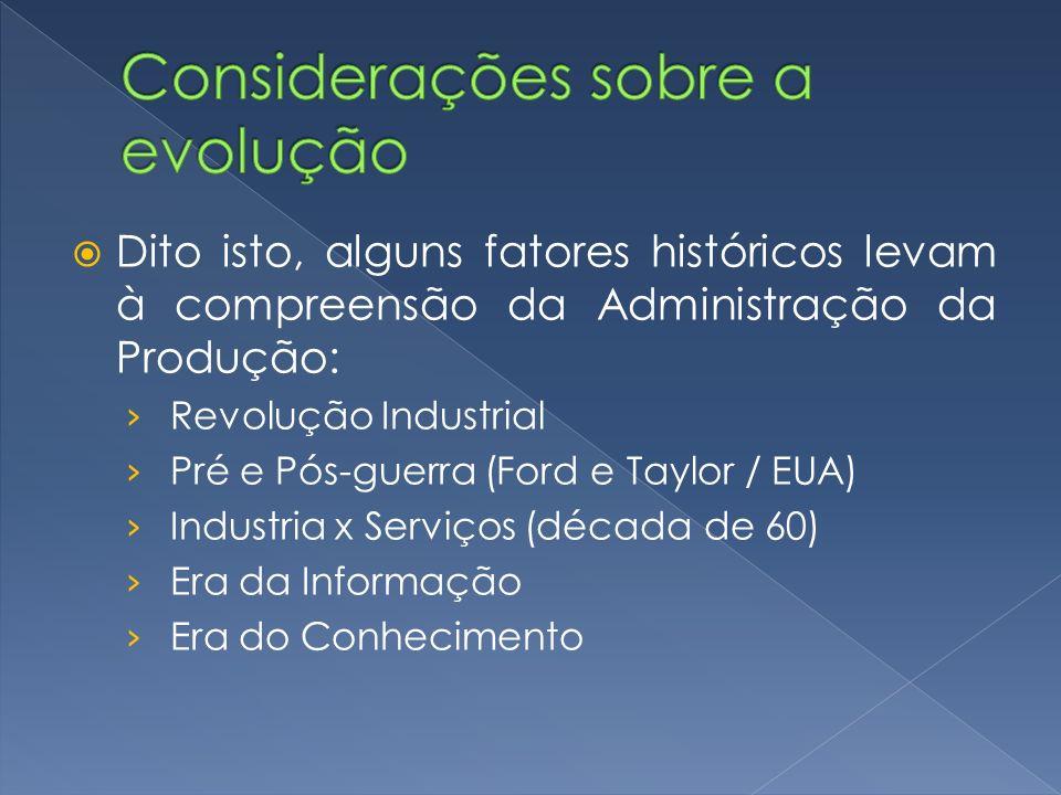 Dito isto, alguns fatores históricos levam à compreensão da Administração da Produção: Revolução Industrial Pré e Pós-guerra (Ford e Taylor / EUA) Ind