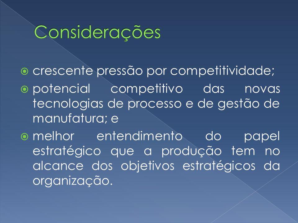 crescente pressão por competitividade; potencial competitivo das novas tecnologias de processo e de gestão de manufatura; e melhor entendimento do pap