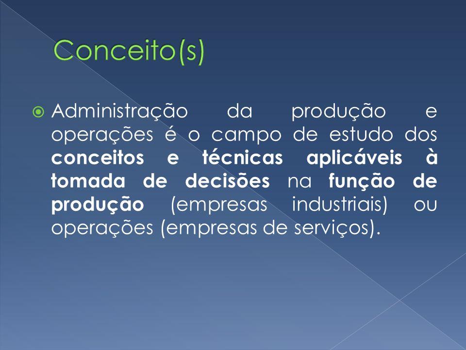 Administração da produção e operações é o campo de estudo dos conceitos e técnicas aplicáveis à tomada de decisões na função de produção (empresas ind