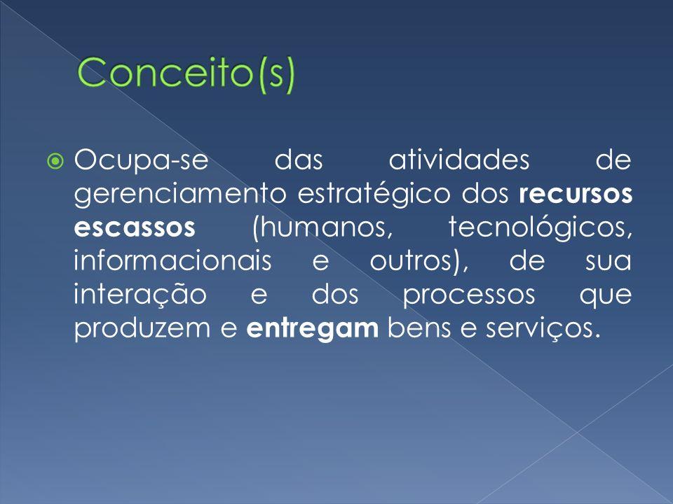Ocupa-se das atividades de gerenciamento estratégico dos recursos escassos (humanos, tecnológicos, informacionais e outros), de sua interação e dos pr
