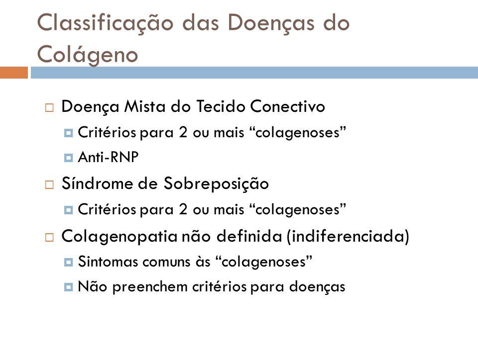 Classificação das Doenças do Colágeno Doença Mista do Tecido Conectivo Critérios para 2 ou mais colagenoses Anti-RNP Síndrome de Sobreposição Critério