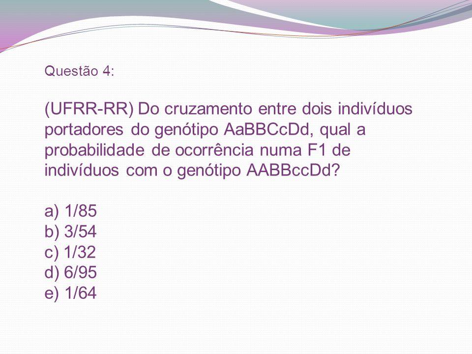 Questão 4: (UFRR-RR) Do cruzamento entre dois indivíduos portadores do genótipo AaBBCcDd, qual a probabilidade de ocorrência numa F1 de indivíduos com