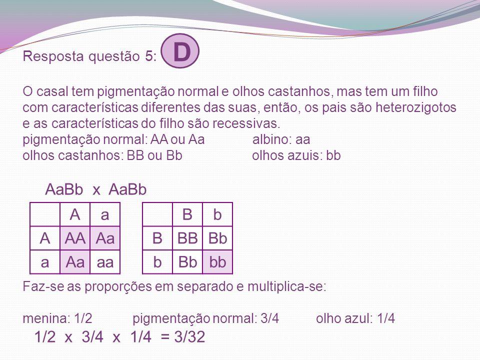 Resposta questão 5: D O casal tem pigmentação normal e olhos castanhos, mas tem um filho com características diferentes das suas, então, os pais são h