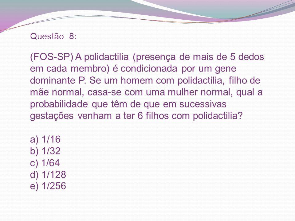 Questão 8: (FOS-SP) A polidactilia (presença de mais de 5 dedos em cada membro) é condicionada por um gene dominante P. Se um homem com polidactilia,