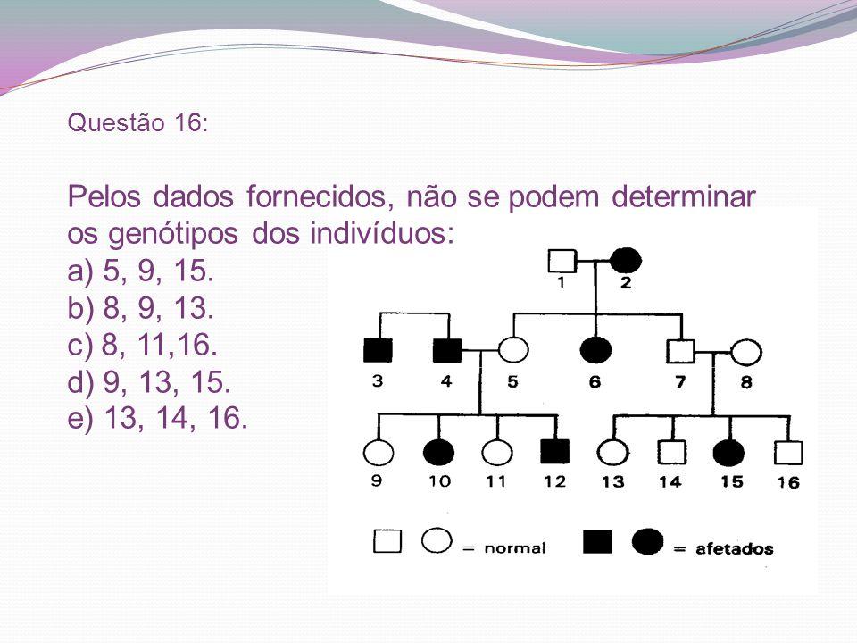 Questão 16: Pelos dados fornecidos, não se podem determinar os genótipos dos indivíduos: a) 5, 9, 15. b) 8, 9, 13. c) 8, 11,16. d) 9, 13, 15. e) 13, 1
